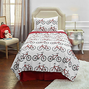 Cotton Bicycle Bed 2 Piece Twin Comforter Set, White, rollover