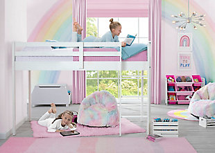 Delta Children Twin Low Loft Bed with Guardrail and Ladder, White, White, rollover