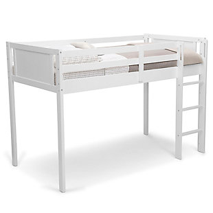 Delta Children Twin Low Loft Bed with Guardrail and Ladder, White, White, large