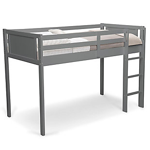 Delta Children Twin Low Loft Bed With Guardrail And Ladder, Charcoal, Gray, large