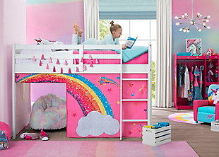 Delta Children Jojo Siwa Loft Bed Tent - Curtain Set For Low Twin Loft Bed (bed Sold Separately), , rollover