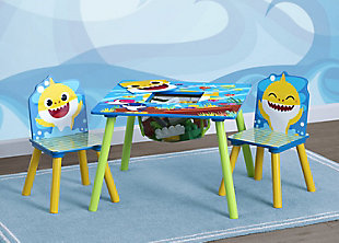 Delta Children Baby Shark Kids Table And Chair Set With Storage (2 Chairs Included), , rollover