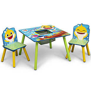 Delta Children Baby Shark Kids Table and Chair Set With Storage (2 Chairs Included), , large