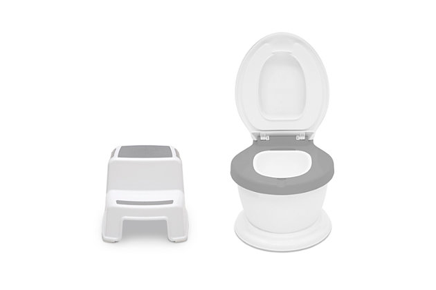 Delta Children Kid Size Potty and Step Stool 2-Piece Set - Realistic Potty and Step Stool Ideal for Potty Training, , large
