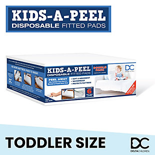 Delta Children Kids-a-peel Disposable Mattress Pads, 6-pack, Waterproof, Breathable Soft Bed Pads, Toddler, , large