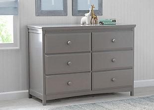 Delta Children Emerson 6 Drawer Dresser, Gray, Gray, rollover