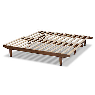Baxton Studio Hiro Modern and Contemporary Walnut Finished Wood Expandable Twin Size to King Size Bed Frame, , large