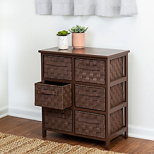 Honey-Can-Do 6 Drawer Woven Strap Chest, Brown, rollover