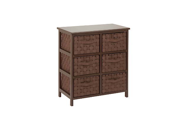 Honey-Can-Do 6 Drawer Woven Strap Chest, Brown, large