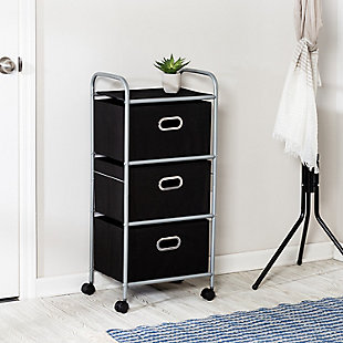 Honey-Can-Do 3 Drawer Rolling Cart, Black, rollover