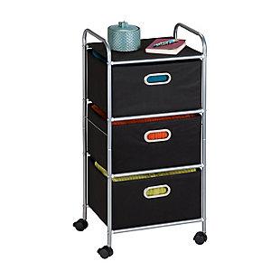 Honey-Can-Do 3 Drawer Rolling Cart, Black, large