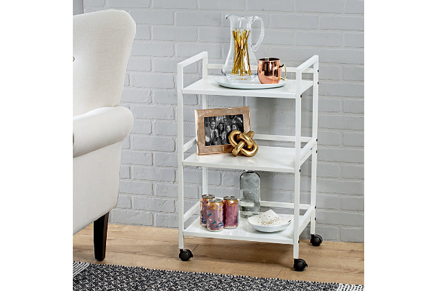 Honey-Can-Do 3-Tier Metal Rolling Cart, White, large