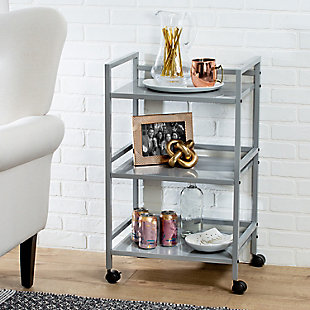 Honey-Can-Do 3-Tier Metal Rolling Cart, Gray, rollover