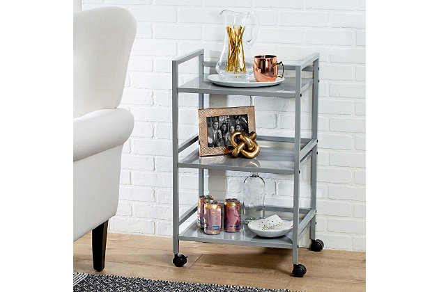Honey-Can-Do 3-Tier Metal Rolling Cart, Gray, large