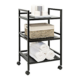Honey-Can-Do 3-Tier Metal Rolling Cart, Black, large
