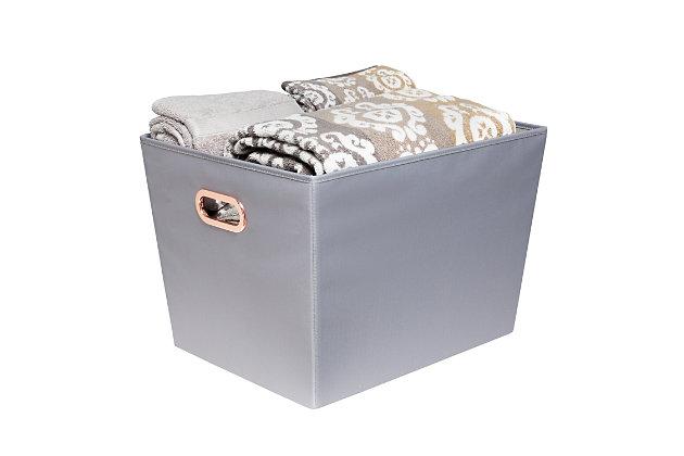 Honey-Can-Do Large Storage Bin, Gray, large