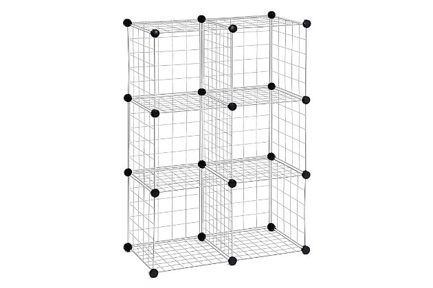 Honey-Can-Do 6 Cube Storage Set, Silver, large