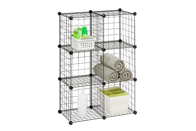Honey-Can-Do 6 Cube Storage Set, Black, large