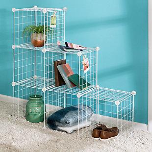 Honey-Can-Do 6 Cube Storage Set, White, large