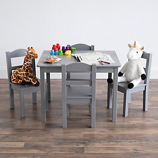 Humble Crew Camden Kids Wood Table and 4 Chair Set, Gray, , rollover