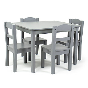 Humble Crew Camden Kids Wood Table and 4 Chair Set, Gray, , large