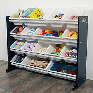 Humble Crew Jayden Super Sized Toy Storage Organizer with 16 Storage Bins, , rollover