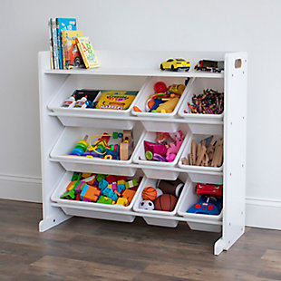 Humble Crew Cambridge White Toy Storage Organizer with Shelf and 9 Storage Bins, , rollover