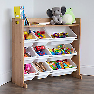 Humble Crew Journey Natural Toy Storage Organizer with Shelf and 9 Storage Bins, , rollover