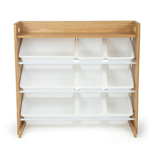 Humble Crew Journey Natural Toy Storage Organizer with Shelf and 9 Storage Bins, , large