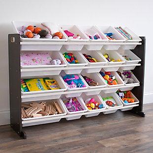 Humble Crew Espresso Extra Large Toy Storage Organizer with 20 Storage Bins, Brown, , rollover