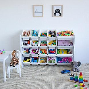 Humble Crew Cambridge Extra Large Toy Storage Organizer with 20 Storage Bins, White, , large