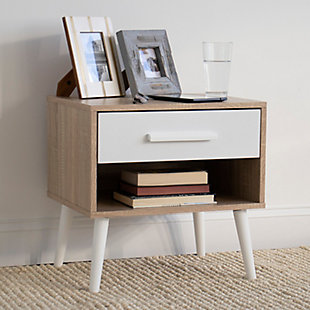 Humble Crew Nightstand End Table with Shelf and Drawer Storage, Light Wood/White, , rollover