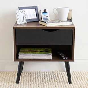 Humble Crew Nightstand End Table with Shelf and Drawer Storage, Dark Wood/Black, , rollover