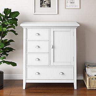 Simpli Home Redmond Solid Wood Medium Storage Cabinet, White, rollover