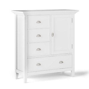 Simpli Home Redmond Solid Wood Medium Storage Cabinet, White, large