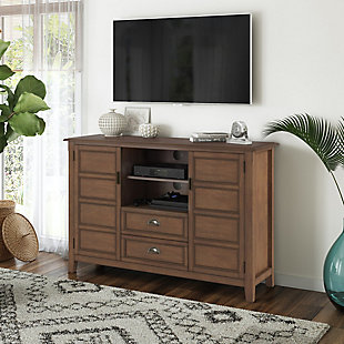 Simpli Home Burlington Solid Wood 54 inch Wide Traditional TV Media Stand, Rustic Aged Brown, rollover