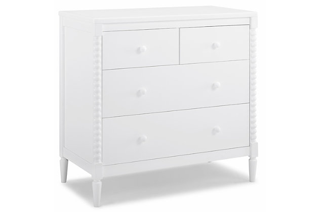 Delta Children Saint 4 Drawer Dresser with Changing Top, Bianca White, large