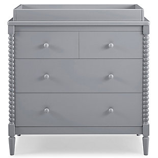 Delta Children Saint 4 Drawer Dresser with Changing Top, Gray, rollover