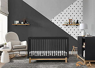 Delta Children Poppy 4-in-1 Convertible Crib, Midnight Gray/Natural, rollover