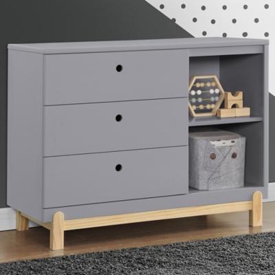 Delta Children Poppy 3 Drawer Dresser With Cubbies, Gray/Natural, large