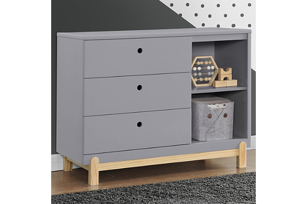Delta Children Poppy 3 Drawer Dresser with Cubbies, Gray/Natural, large