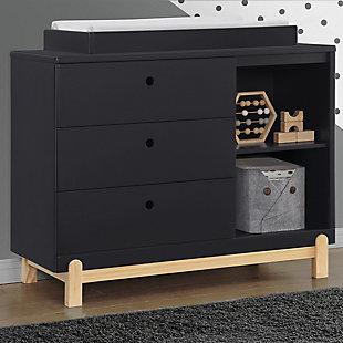 Delta Children Poppy 3 Drawer Dresser with Cubbies, Midnight Gray/Natural, large