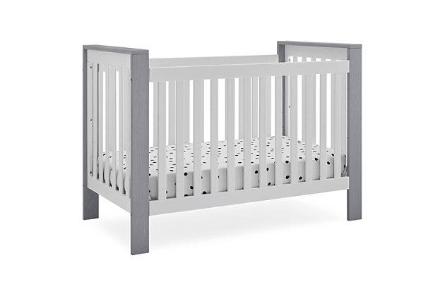 Delta Children Miles 4-in-1 Convertible Crib, Gray/White, large