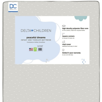 Delta Children x Ashley Peaceful Dreams Dual Sided Recycled Fiber Core Crib And Toddler Mattress, , large