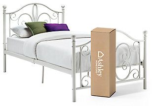 "Bombai Twin Metal Bed with 8"" Memory Foam Mattress in a Box, White, large"