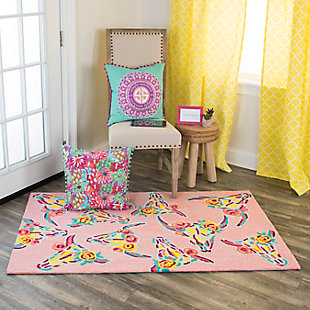 Simply Southern Pink Skull 3 x 4 Rug, , rollover
