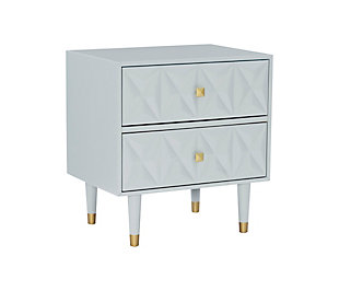 Two Drawer Geo Texture Nightstand, Gray, large