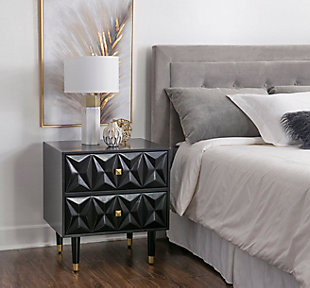 Two Drawer Geo Texture Nightstand, Black, rollover
