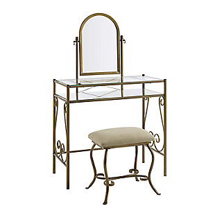 Leah  Antique Vanity and Bench Stool Set, , large
