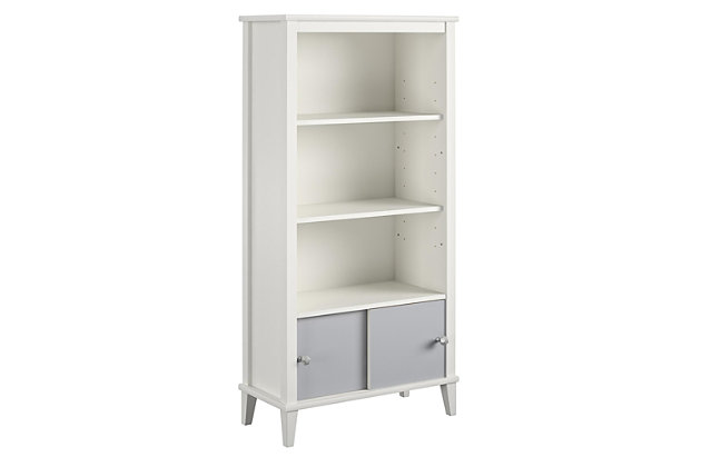 Little Seeds Monarch Hill Poppy Kids White Bookcase with Gray Doors, Gray/White, large